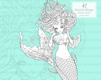 PNG - Marisol - Aurora Wings Digital Stamp - Beautiful Mermaid with Flowing Hair - Fantasy Line Art for Arts and Crafts by Mitzi Sato-Wiuff