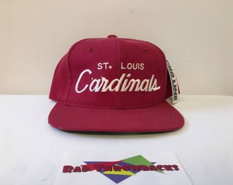 New Dead Stock Vintage 1990s St. Louis Cardinals Red Sports Specialties Twill Snapback Hat with Original Tags