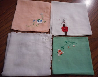 Vintage Hankies - Perfect  circa 1950 -  1960, Group E, hankies sold separately