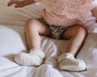 Knitted Baby Booties for Boys or Girls - Neutral Knit Booties for Sizes 3 Months to 2 years