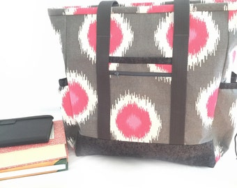 Kitchen Sink Tote, Professional Tote, Large Tote Bag with pockets, Diaper Bag, Travel Tote, Pink and Grey Teacher Tote