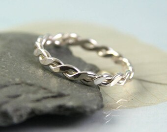 Silver Twist Ring - Sterling Wire Braid | 1.2mm Wire | Stacking Ring | Silver Twisted Ring | Rope Ring | Handmade Ring | Silver Wrap Ring