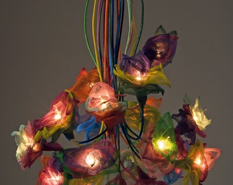 """FLOWERS Collection Colourful """"Flowers 15"""" Branches Ceiling Light"""