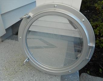 Silver 15 inch ship port hole / porthole mirror / beach decor / nautical decor