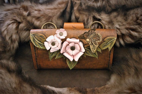 Genuine leather mini bag, pouch, purse, for woman, with flowers, roses