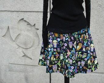 Rock OWL PARTY skirt women's skirt Black colored skirt women flared skirt black colored