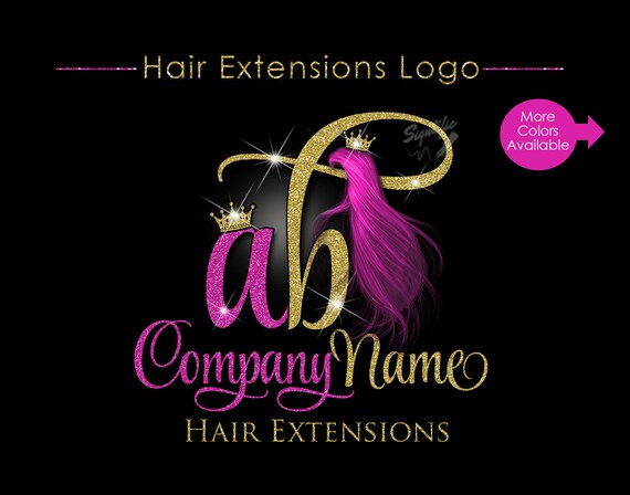 Hair Extensions Business Logo, Glitter Bling Logo, Virgin Hair Logo, Custom Strands Logo, Hair Bundle Logo, Crown Logo, Hair Packing Logo