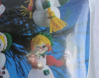 Vintage Unopened Unused Paragon Christmas Felt Ornaments Kit Collection, Santa and Mrs. Claus Ornaments, Mr. and Mrs. Snowman Ornaments