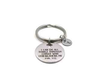 Philippians 4 13, Phil 4 13 Key Chain, Custom Gift, I Can Do All Things, Bible Verse Keychain, Inspirational Keychain, Religious Keychain