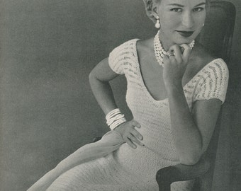 KNITTING PATTERN Vintage 1950s Quick Knit V-Neck Dress Instant Download PDF