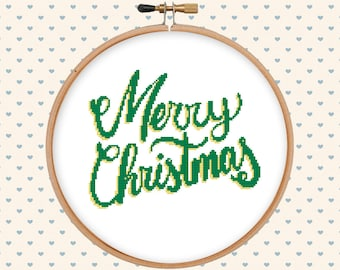 Merry Christmas lettering cross stitch - modern cross stitch pattern - easy holyday cross stitch - pattern pdf - instant download