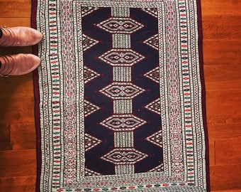 Boho rug - Hand-knotted jaldar bokhara accent rug - 2.5' x 4.3'