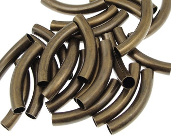 24 Noodle Beads 30mm x 5mm Antique Brass Plated Curved Tube Beads Brass Tube Beads Bronze Noodles (T5)