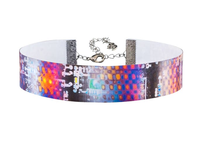 Robot Circuit Board 3D Color Changing Holographic Choker Necklace