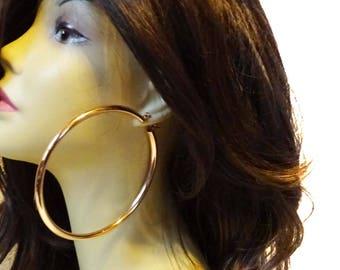 LARGE 4 inch Hoop Earrings Thick Cast Tube Hoop Earrings Rose Gold Hoop Earrings Gold tone