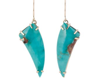 Kingman turquoise earrings, natural turquoise claw earrings, solid 14K gold turquoise earrings, ready to ship