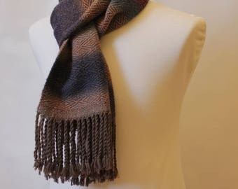 Rhombus scarf, handmade fabric, brown and multicolor, wool blend, fringed
