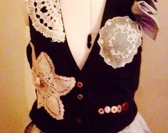 Gothic Tailcoat, Steampunk Waistcoat, Victorian Waistcoat, Altered Couture, Bohemian Tailcoat