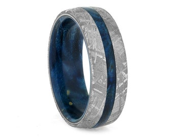 Blue Wood Ring With Gibeon Meteorite, Colorful Wedding Band With Box Elder Burl