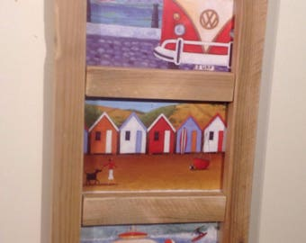 Upcycled wooden VW Vaultswagon beachut and surfing framed postcard hanging