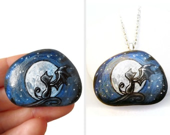 Black Cat Art, Full Moon Necklace, Pet Pendant, Bat Wings, Gothic Painting, Hand Painted Beach Pebble, Cat Lover Gift, Halloween Accessory