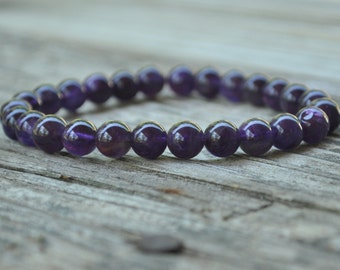 Mens Crown Chakra Mala, Amethyst, 7th Chakra, Gemstone Therapy, Crystal Healing, Yoga Bracelet, Meditation Bracelet, Reiki, Wish Bracelet