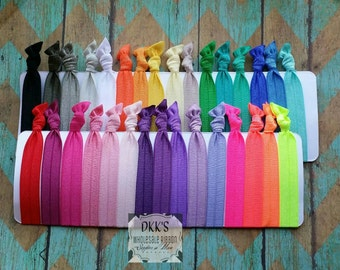 20 Wholesale Hair Ties- Your Pick Your Colors- No Crease Hair Ties