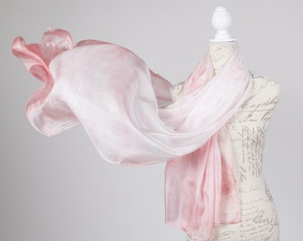 Dusty rose ombre scarf / pink valentine scarf / Soft pink silk scarf / mother of the groom silk scarf / mother of the bride silk scarf