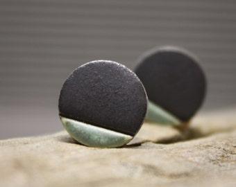 Dark Gray Minimalist earrings/ Stud Earrings/ Geometric earrings/ Circle earrings / Ceramic earrings/ Great mothers day gift