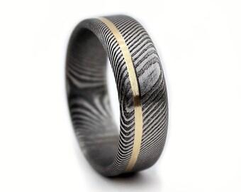 Damascus Steel Ring, Steel Ring, Steel Jewelry, Gold Ring, Yellow Gold Ring, Men's Ring, Women's Ring, Wedding Ring, Wedding Band, GJG