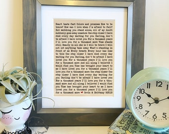 SALE Choose your own lyrics | Personalized Wedding Song Lyrics Cotton Print | 2nd Anniversary Gift | Gift for Wife | Frame not included