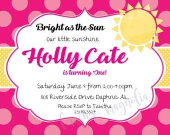 Pink Sunshine Birthday Invitation