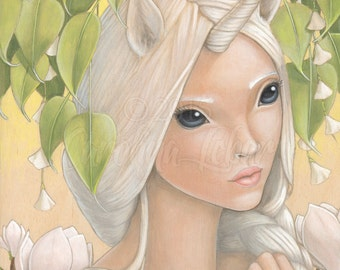 "Art print unicorn girl with big eyes in magical ginko leaves forest 5"" x 7"""