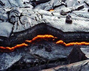 Fine Art Photography Landscape Hawaiian Volcano Cooling Lava Photo Kilauea Lava Flow Nature Photography Great Gift for Him with Aloha