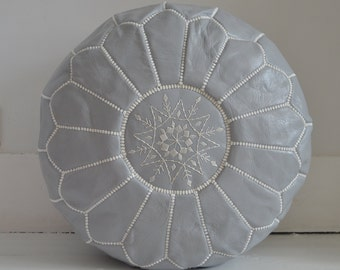Moroccan Leather Pouffe  -  Light Grey