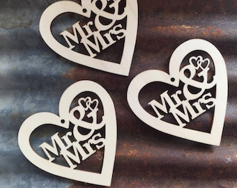 Wood Mr and Mrs Shapes - Wedding Ornament - Wedding - Wood Shapes - Wooden Accessories - Scrap booking - Card making - Craft supplies