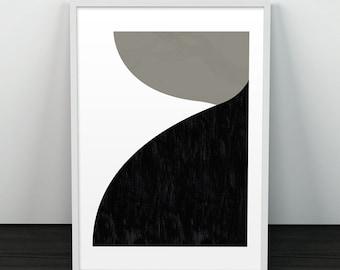 Minimalist print, Mid century modern, Abstract poster, Monochrome art, Scandinavian art print, Wall art, Modern print, Black shapes, Decor