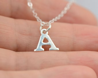 All Sterling Silver Inital  Necklace, Dainty Personalized,Customized, Make Your Own,  Initial Jewelry