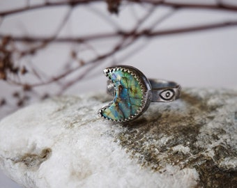 Synthetic Opal Crescent Moon ring in Sterling Silver US size 5.5