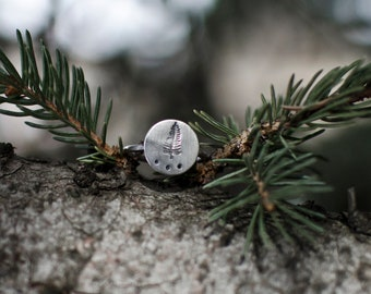 Evergreen Ring   Sterling silver Ring   Rustic Ring   Nature Lover   Bohemian Ring   Nature Ring   Mothers Day Gift   Tree Ring