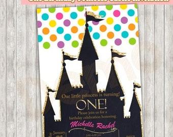 50%Off One, Birthday, Princess Castle, Invitation, One Birthday Party, Princess Invitation, First Birthday, Castle Invitation, Birthday Gold