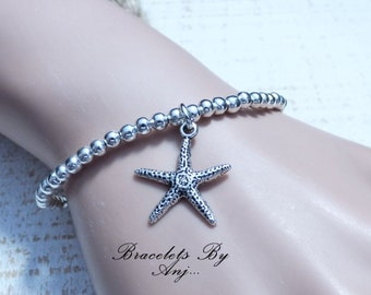 silver starfish beaded stretch bracelet