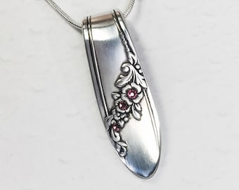 Spoon Necklace Pendant, Rose Pink Crystals, 'Queen Bess' 1946, Silverware Jewelry