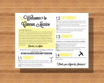 Wedding Welcome Weekend Itinerary, Wedding Schedule of Events, Wedding Itinerary for your Welcome Bag, Itinerary for your Special Event