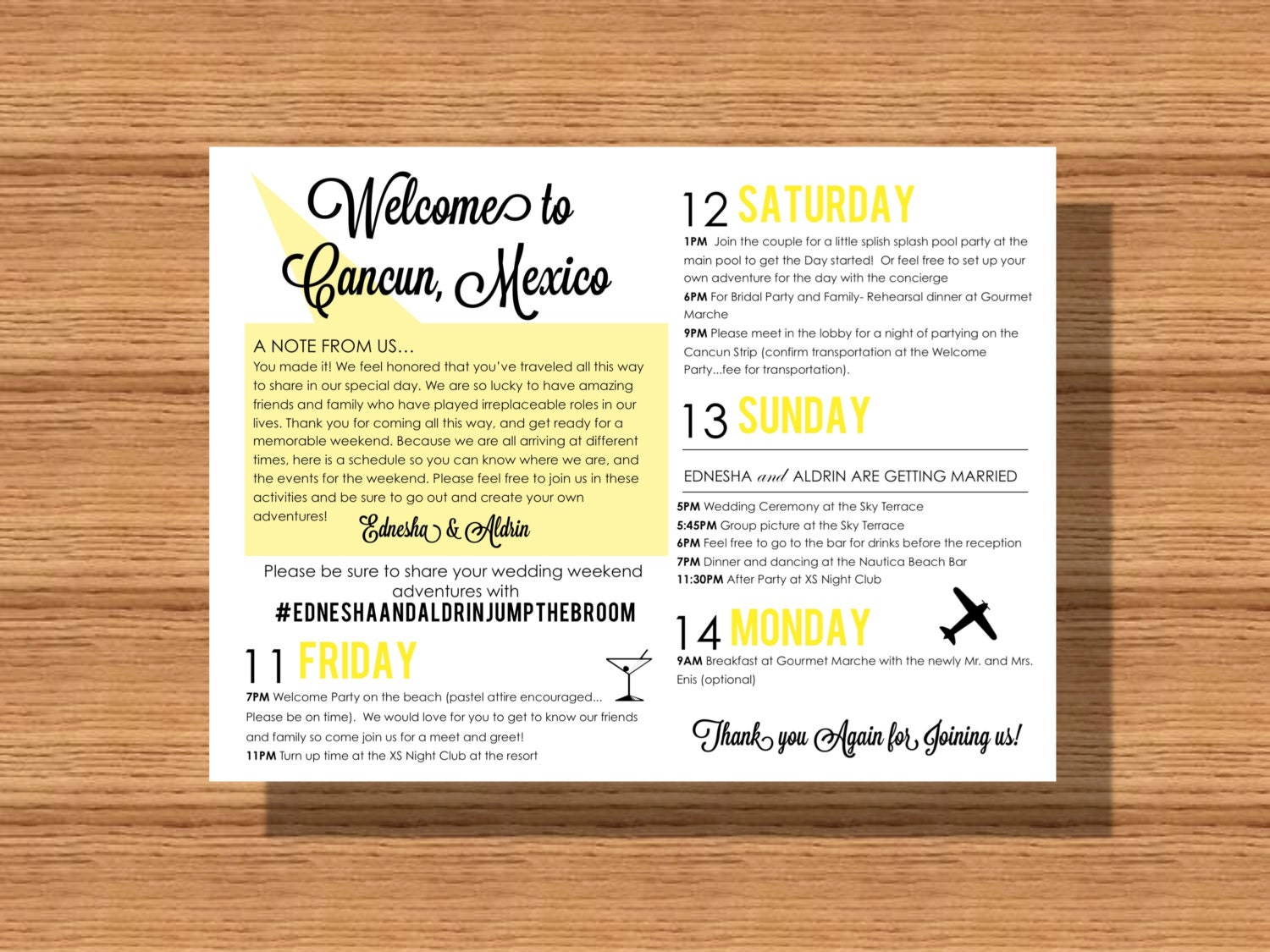 Wedding Welcome Weekend Itinerary Wedding Schedule Of Events