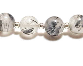 Tourmalinated Quartz and Sterling Silver Handmade Beaded Bracelet