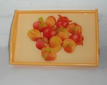 Rectangular wooden tray with handles