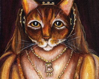 Anne Boleyn Cat, Abyssinian Cat in Tudor Dress King Henry VIII Wife