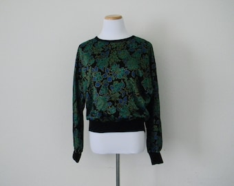FREE usa SHIPPING vintage Batwing blouse long sleeve scoop neck bohemian top green festival black green blue gold acrylic acetate size M