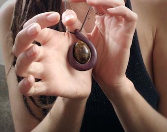 purple heart and jasper pendant
